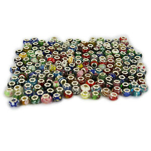 LOT 50 PIECES OF MIX COLOR STYLE SILVER MURANO GLASS BEAD FOR BRACELETS CHARMS