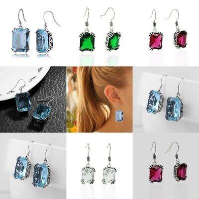 (Elegant Women's Fashion 925 Silver Vintage Amethyst Drop Dangle Hook Earrings)