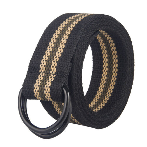 New Canvas Web D Ring Belt Silver Buckle Military Style For Men & Women Usa