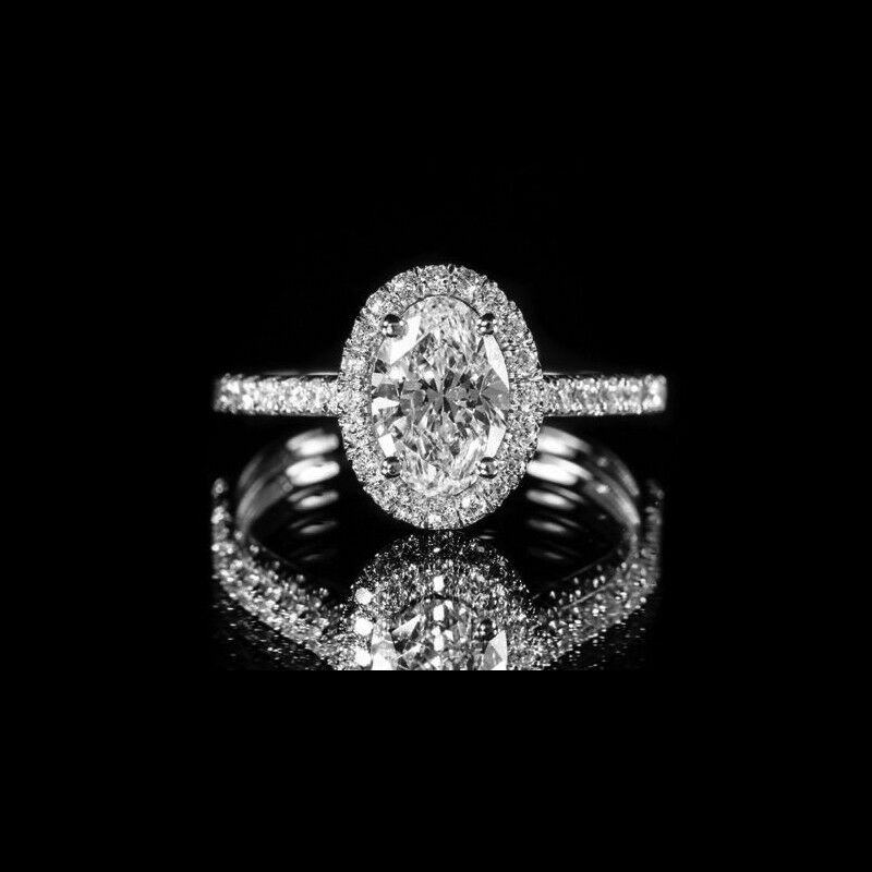 2.20ct Oval Diamond Halo Pave Engagement Ring GIA Certified - 18k white gold