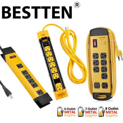 BESTTEN 6/7/8 Outlet Heavy Duty Metal Power Strip Surge Protector 6/9/10FT Cord Metal Surge Strip