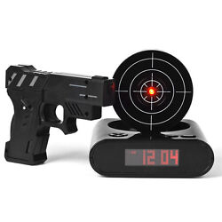 Clock Alarm Gun Target Laser Shooting LCD Screen Shoot Gadget Toy Kids Pistol Up