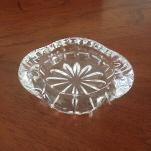 Thick Heavy Cut Clear Crystal Ashtray