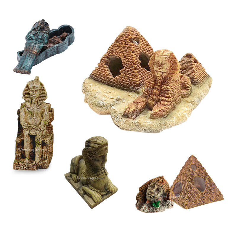 Ophelia Architecture 3 Inches Aquarium Ornaments Ancient Egyptian Pyramid Hideaway Caves House Resin Crafts Decorations for Fish Tank Reptile Terrarium Small