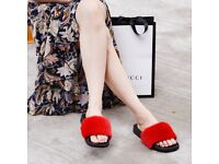 DAYMISFURRY --- Mink Fur Slippers-Red