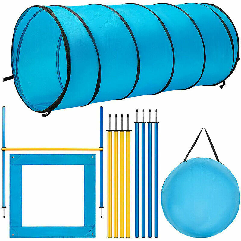 Dog Agility Training Kit Obstacle Course Equipment Jumps Tunnel w/ Carry Bag