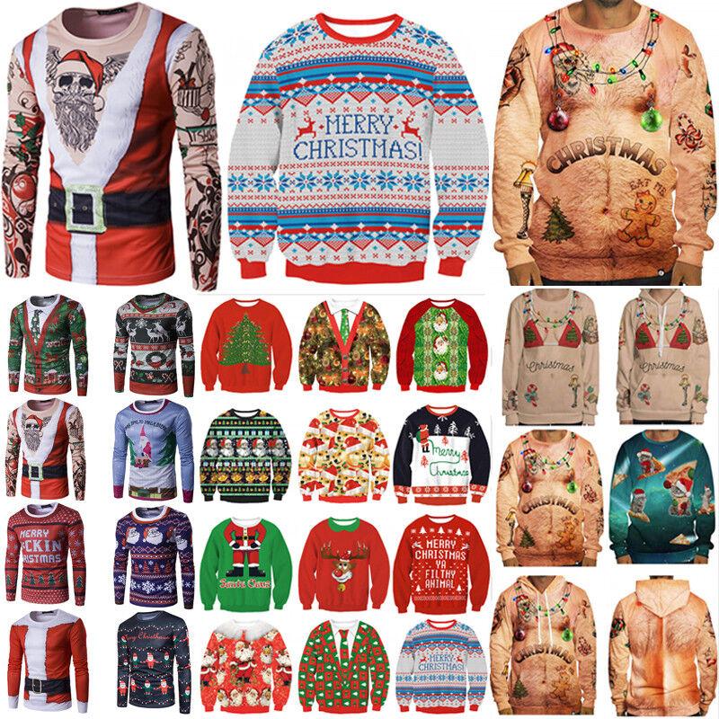 Unisex Mens Womens Ugly Christmas Sweater Sweatshirt Hoodie