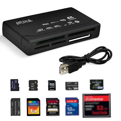 All In 1Schwarz Card Reader Kartenleser USB Micro SD SDHC Mini M2 MMC TF CF