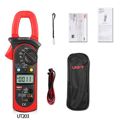Uni-t Ut203 400a Digital Clamp Meter Auto Range Dmm Ohm Ac Dc Volt Amp Data Hold