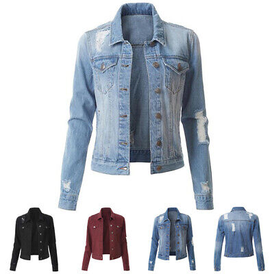 US Women Denim Jacket Long Sleeve Distressed Ripped Button Jeans Jacket -