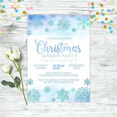 CHRISTMAS INVITATION PERSONALISED FROZEN SNOWFLAKE PARTY SUPPLIES CUSTOM - Frozen Custom Invitations