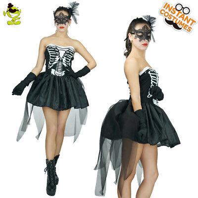 New Black Women Skelly Von Trap Fancy Dress Costume - Halloween Ladies Skeleton