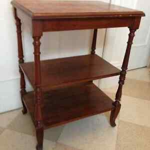 Beautiful Antique Solid Walnut Three Level Side Table,