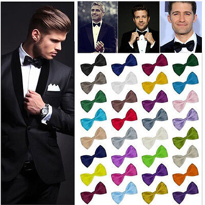 New Gents Mens Pre Tied Fancy Plain Necktie tie Bow ties -Wedding Party Prom