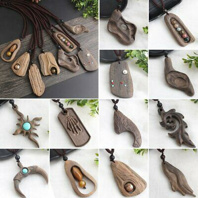 Natural Stone Buddhist Sandalwood Pendant Necklace Handmade Long Sweater Chain Handmade Stone Pendant