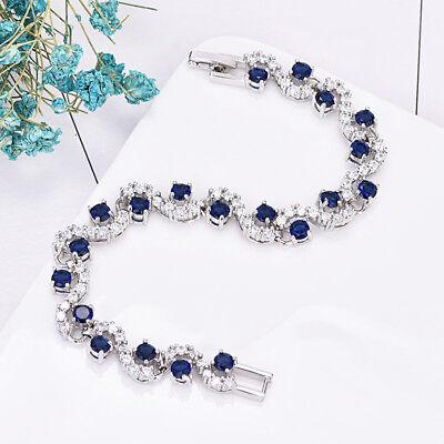 Platinum Plated Charm - S Shaped Swissn Blue Topaz White Zircon Gems Platinum Plated Charm Bracelets New