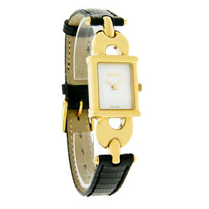 Gucci 1800 Series Ladies White Dial Gold Tone Black Leather Strap Watch