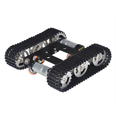 Black Robot Smart Car Platform Metal Chassis Dual Dc 9v Motor For Arduino Diy