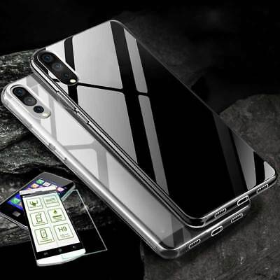 Silikon Transparent + 0,3 H9 Panzerglas Für Huawei P20 Tasche Hülle Cover Case