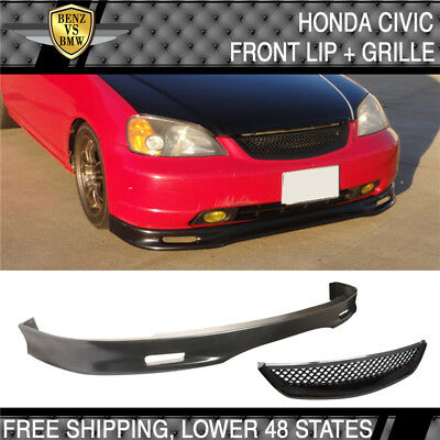 Fit 01-03 Honda Civic 2 4 Door Spoon Style Front Bumper Lip PU + Hood Grille