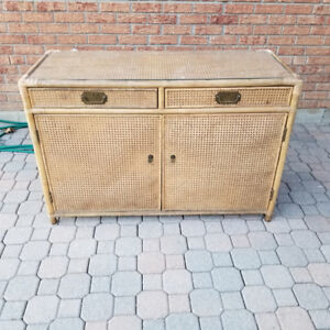 Wicker cabinet with glass top