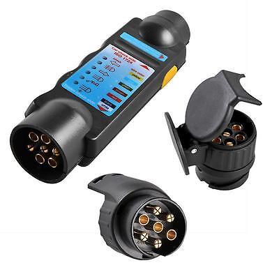 7 Pol Stecker TESTER Prüfgerät Beleuchtungstester Anhänger 12V +2 Adapter 13POL ()