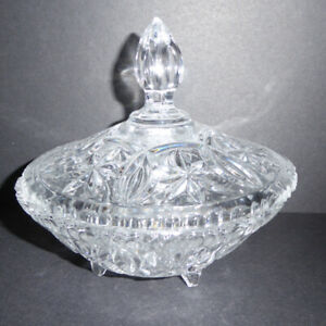 3 VINTAGE CLEAR DISHES: CANDY, CONDIMENT & SALAD BOWL - MINT