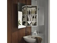 Luxury Stainless Steel Wall Corner Mirror Storage Cupboard Bathroom Cabinet........Brand New