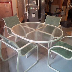 Steel Patio Table with Glass top and 4 chairs