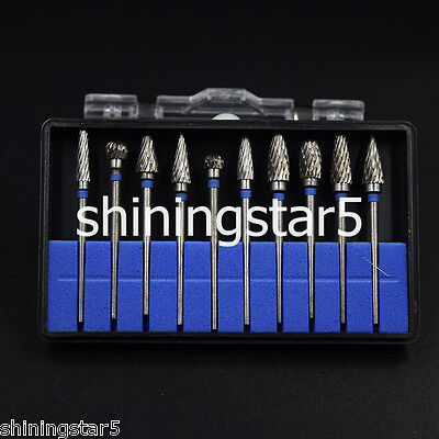 10x Tungsten Carbide Tungsten Steel Dental Lab Burs Polisher Tooth Drill 2.35mm