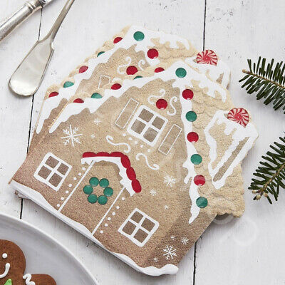 16 Gold Gingerbread Christmas Party Napkins Xmas Disposable Tableware Supplies