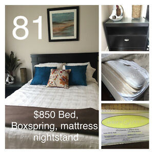 Queen bed/mattress/box spring/nightstand