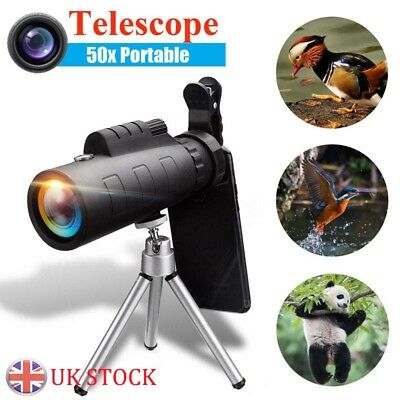 50X HD Monocular Zoom Night Vision Telescope + Clip For Mobile Phone UK
