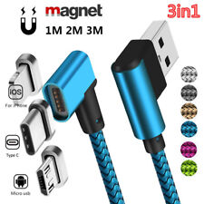 90 Degree 3in1 Micro USB Type C iOS Magnetic Data Sync Fast Charging Cable Lot