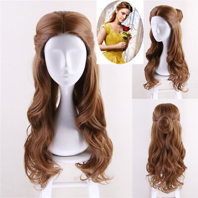 2018 Beauty and the Beast Belle Princess Cosplay Wig Women Long Wavy Adult Hair