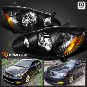 For 2003-2008 Toyota Corolla Crystal Black Headlights Head Lamps Left+Right