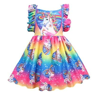 US STOCK Girls Casual Holiday Party Birthday Unicorn Fancy Dress  O59