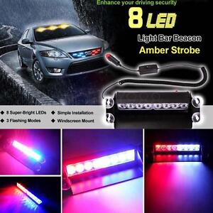 8 LED Red/Blue Car Police Strobe Flash Light Dash Emergency 3Flashing Light 2014