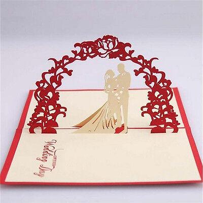 Red Unique Design 3D Bride Groom Wedding Invitation Cards With Envelopes SealRS