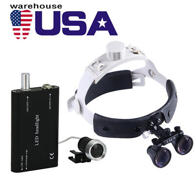 Usa Dental Surgical Medical 3.5x Headband Binocular Loupes Led Headlight Black