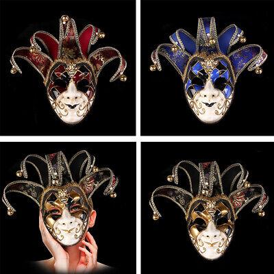 New Venetian Masquerade Masks Full Face Jester Joker Halloween Cosplay - Venetian Full Face Mask