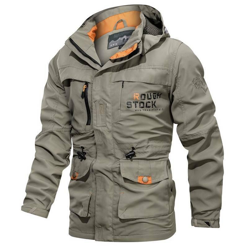 Men's Waterproof Jacket Hooded Soft Shell Outdoor Hiking Mil