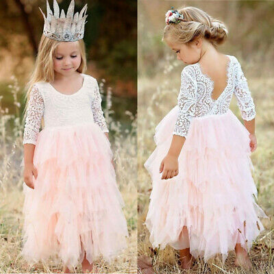 US Stock Lace Flower Girl Baby Dress Birthday Party Backless Tulle Wedding Gown (Tulle Dress Girl)
