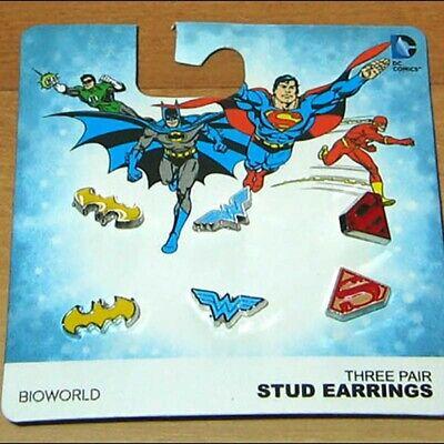 DC Comics Batman Wonder Woman Superman Logo Stud Earrings Jewelry 3 PAIR (Wonder Woman Stud Earrings)