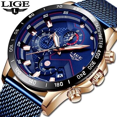 LIGE Luxury Sport Watch Mens Casual Mesh Blue Metal Band Fashion Quartz