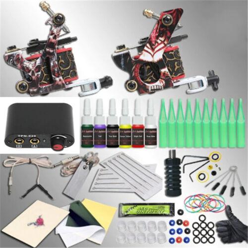 New Complete Professional Tattoo Machine Kit Set 2 Machine Gun 6 Colors ink gift