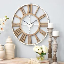 Farmhouse Clock Rustic Country Shabby Chic Distressed Vintage Style Wall Decor