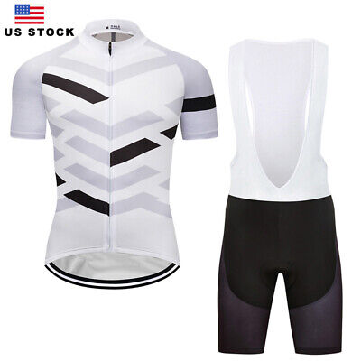 Pro Cycling Jersey Bib Shorts Kits White Black Riding Shirt Gel Pad Short -