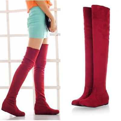 Womens Flat Knee High Boots Winter Warm Solid Pointy Toe Retro Style Shoes