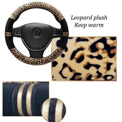 Luxury Car SUV Steering Wheel Cover Plush Leopard Print Warm Winter Fashion Soft